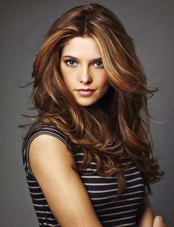 �01Cstuff i want to make�01D? how about what I want to �01Cmake my hair look like�01D :) Ashley Greene �013 long brown hair with red and caramel blonde highlights
