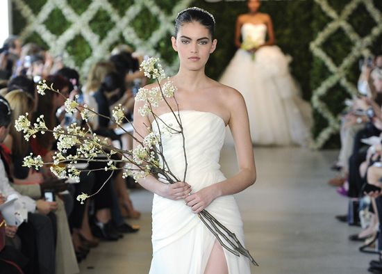 March: Best floral pick: Flowering branches such as Kwanzan Cherry.  These striking, delicate branches are the ideal choice for an unconventional March bride and they need few accoutrements — just bundle them together and fasten with a bouquet wrap material that suits the rest of your wedding decor