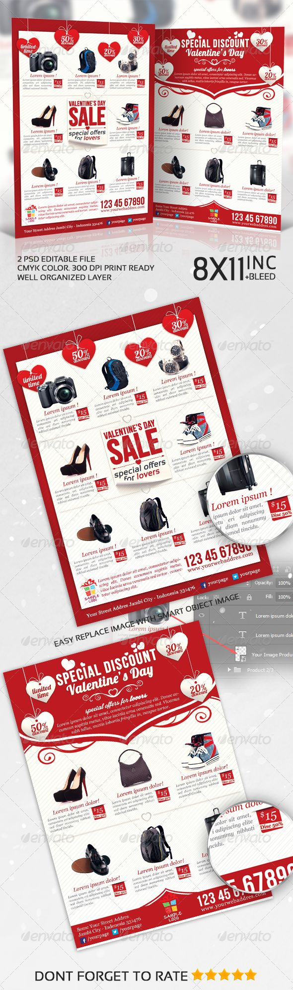 Valentines Product Sale / Promotion Flyer — Photoshop PSD #promotion #discount • Available here → https://graphicriver.net/item/valentines-product-sale-promotion-flyer/6763195?ref=pxcr