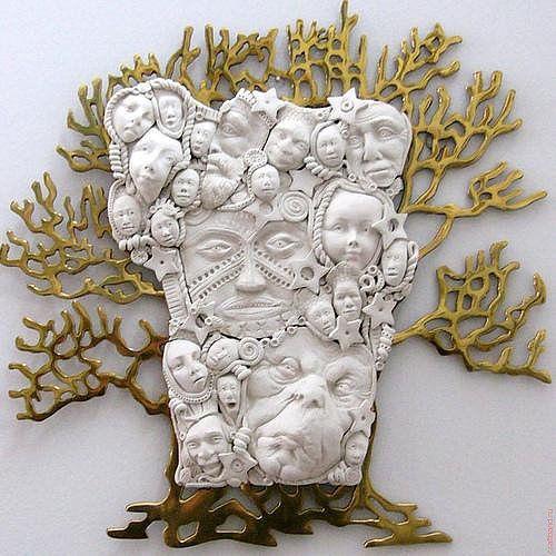 миниатюры из полимерной глины, дерево