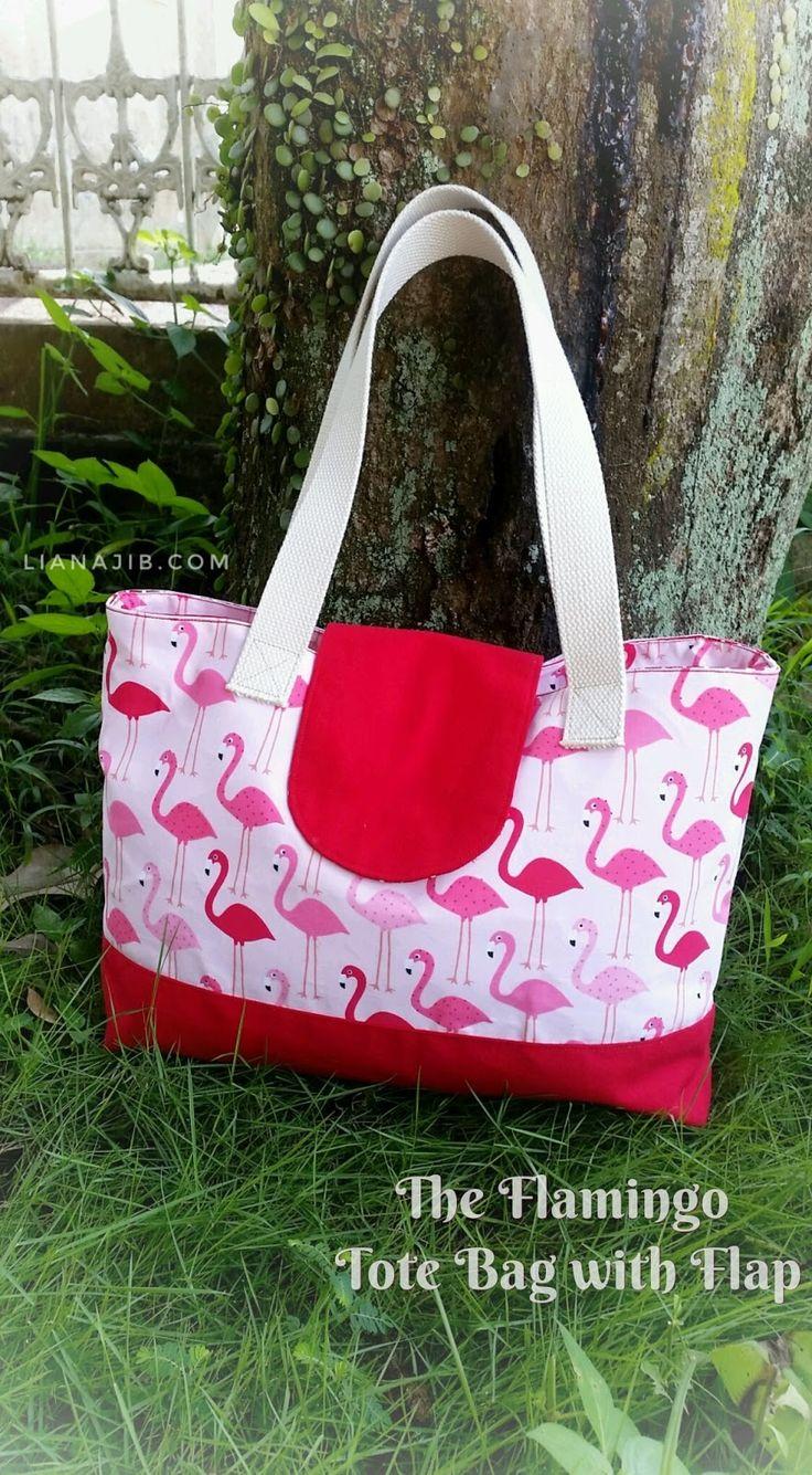 Flamingo tote bag with flap by mademedina indonesia #totebag #diy #handmade #crafting #bagmaking #crafter