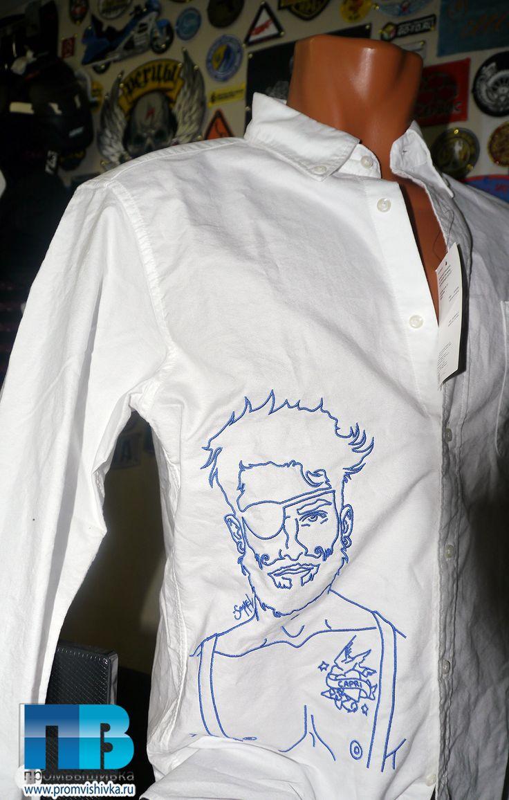 Вышивка на рубашке портрета пирата