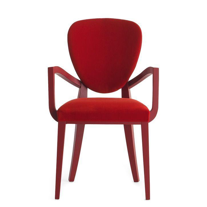 Cammeo 02621, Poltroncina in legno massiccio, seduta e schienale imbottiti, copertura in tessuto, stile moderno
