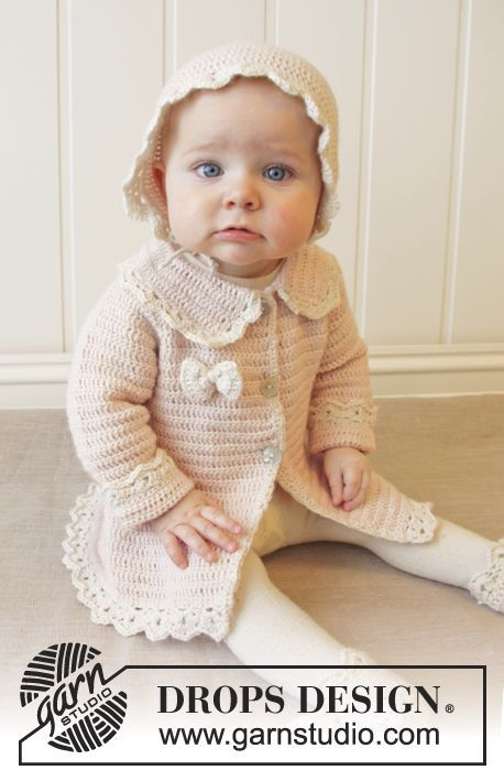 "Free Pattern Crochet DROPS jacket with raglan and fan edges, worked top down in ""BabyAlpaca Silk"". Size 0-4 years."