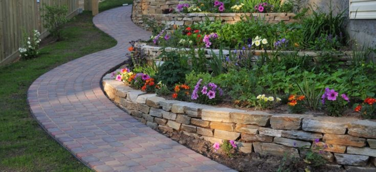 patios with retaining walls | Retaining Wall and Brick Walkway
