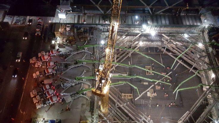 Demorou 18 horas para concluir a fundação do maior edifício de São Francisco Califórnia. O resultado? 4 metros de espessura 4.046m e pronto para aguentar uma estrutura de 320 metros de altura.INCRÍVEL!
