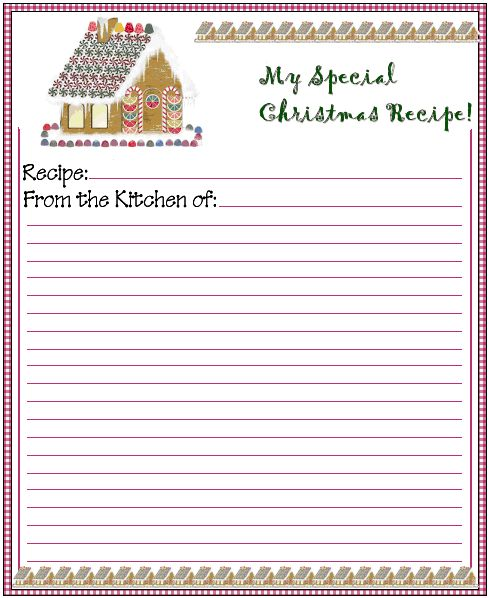 Christmas Gingerbread House Printable Recipe Card