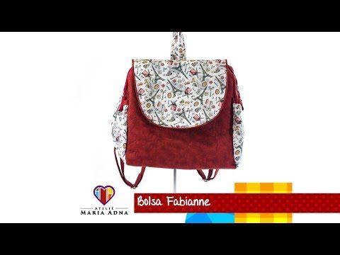 Bolsa mochila de tecido Fabianne. DIY. Fabric bag backpack. Make a fabri...
