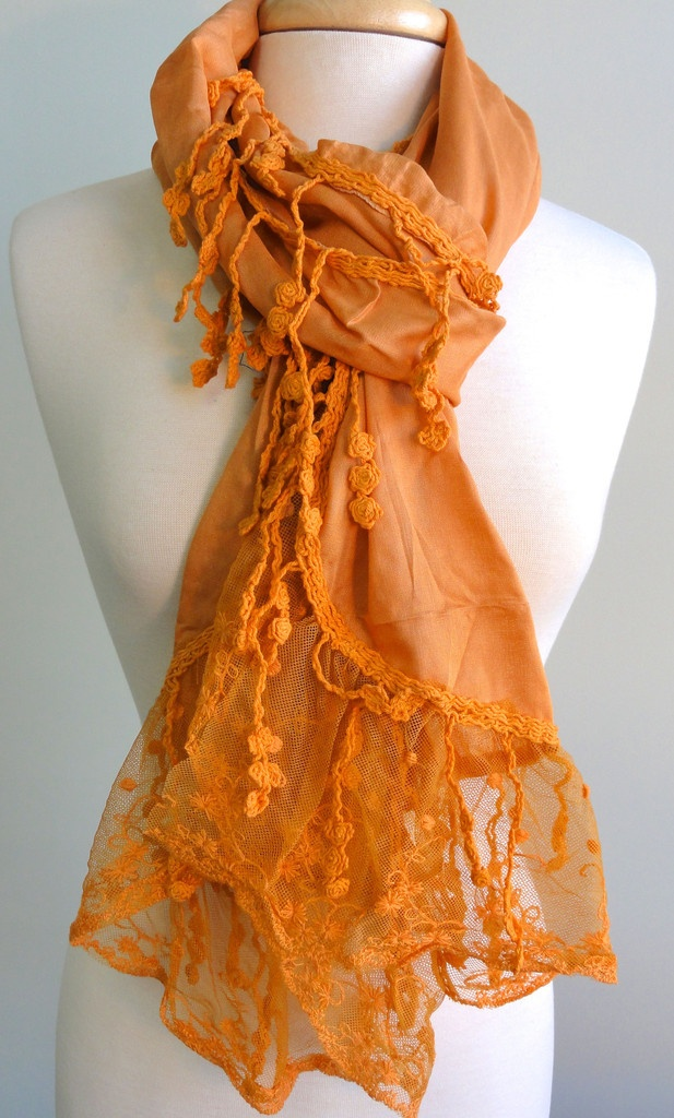 Solid with Lace.  Orange is a great fun color for Spring.  Pair it with pink & you have a winning combination.