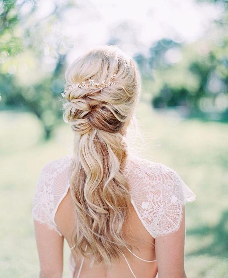 Pretty Pulled Back Wedding Hairstyle For Long Hair Half French