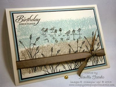 """By Narelle Fasulo. Uses Stampin' Up """"Wetlands"""" stamp set. Background made with ink-on-tape technique."""
