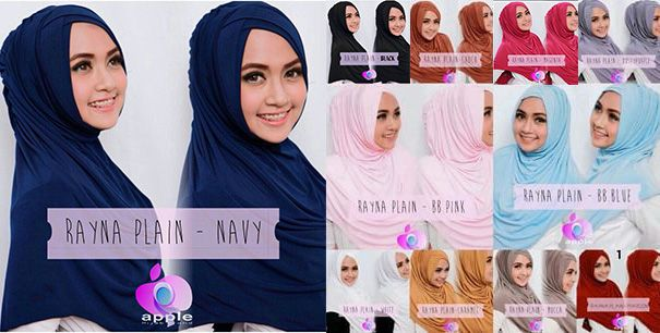 Hijab/Jilbab Instant Rayna.  Jilbab instant dengan aksesori double silang samping di bagian wajah.  Bahan : jersey. Panjang : Ukuran lebih pendek dari photo.