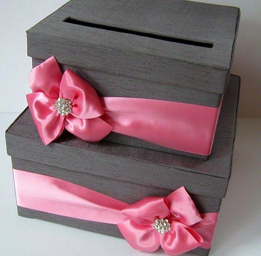 pink and gray wedding card box
