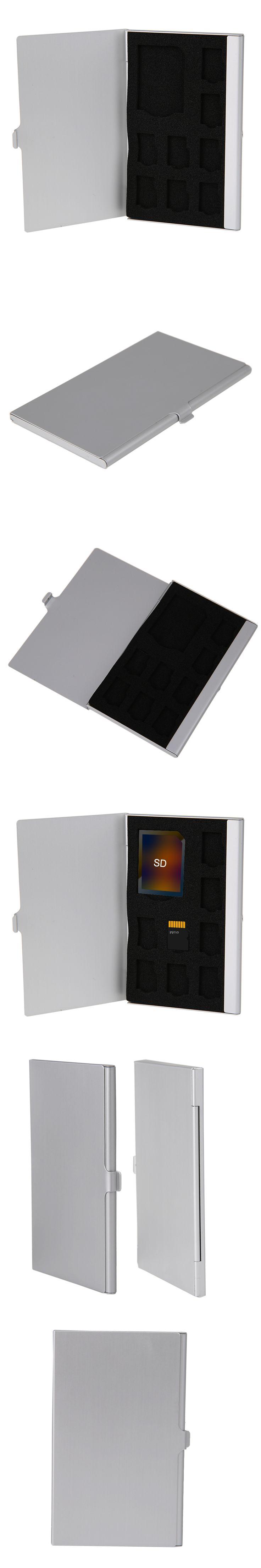 Silver Monolayer Aluminum 1SD+ 8TF Micro SD Memory Cards Case Pin Storage Box Case Holder