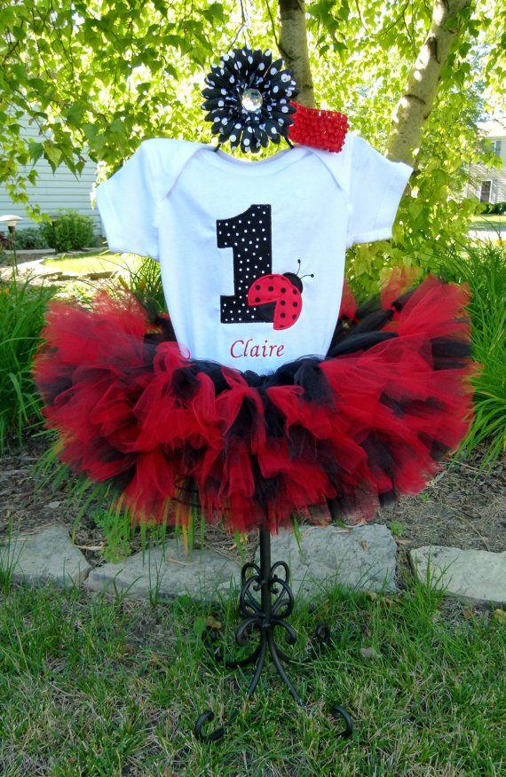 First Birthday Ladybug Petti Tutu Personalized Onesie Baby Girl 1st Birthday Set on Etsy, $59.00