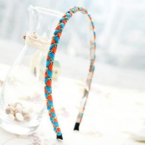 Braided Chain-Trim Hair Band Blue, Orange - One Size