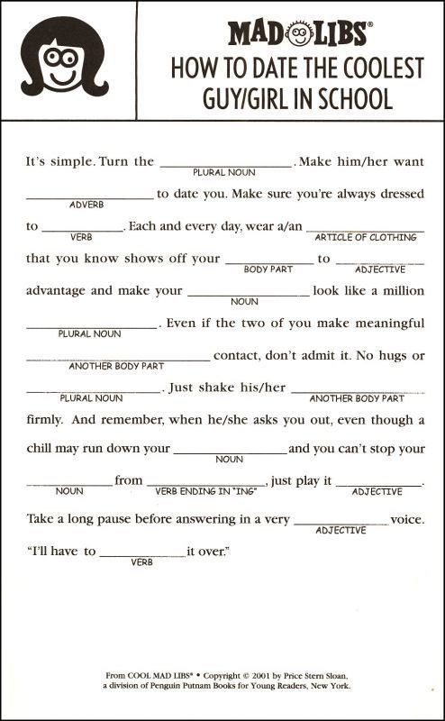 This is an image of Breathtaking Mad Libs for Adults Printable