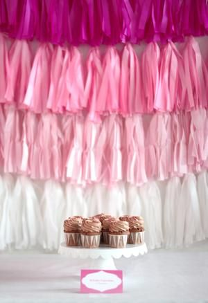 pink ombre tassel party background