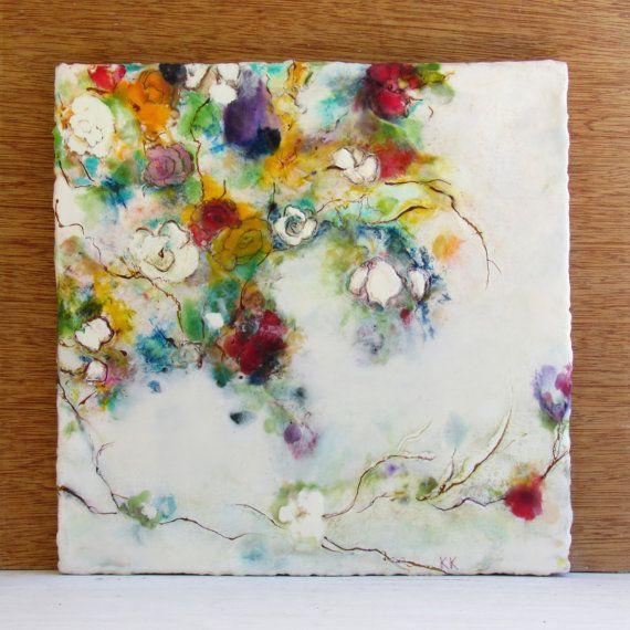 Original KLynnsArt de doux murmures Floral - Art encaustique - tableau - fleur abstraite peinture encaustique Floral - encaustique