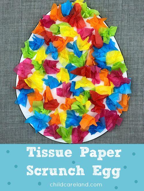 Tissue paper scrunch egg for fine motor developmen…
