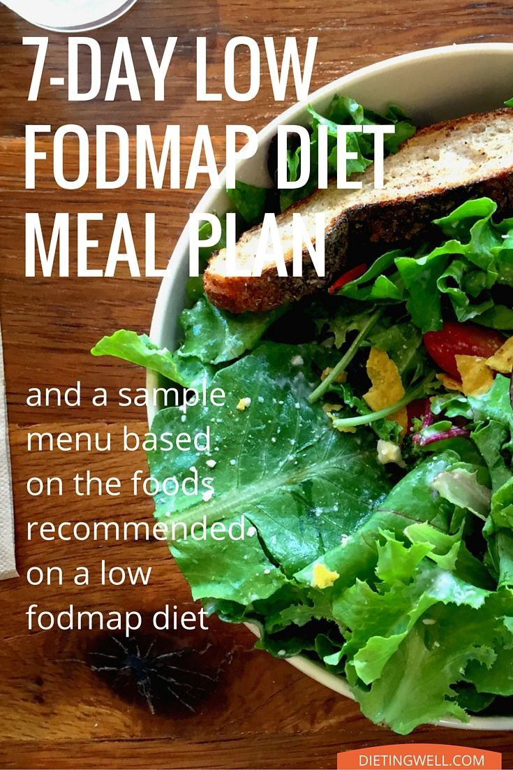 This is a detailed meal plan for a Low FODMAP diet. What to eat, shopping list, what not to eat and a sample FODMAP diet plan and menu for one week. | https://dietingwell.com/low-fodmap-diet-meal-plan-menu/
