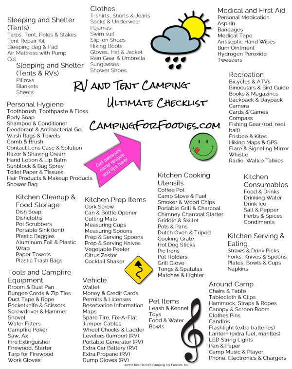 Ultimate Camping Checklist for RV and Tent Camping. Stay organized and have fun! Fun Camping Ideas Kids And Adults Will Love - Camping For Foodies® & Pull Out All The Stops®