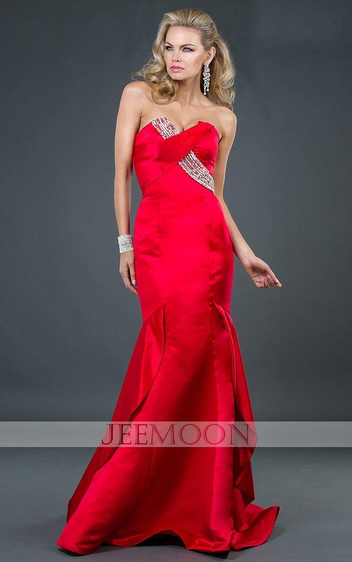 Floor-length Mermaid/Trumpet Sweetheart Red Taffeta Prom Dress