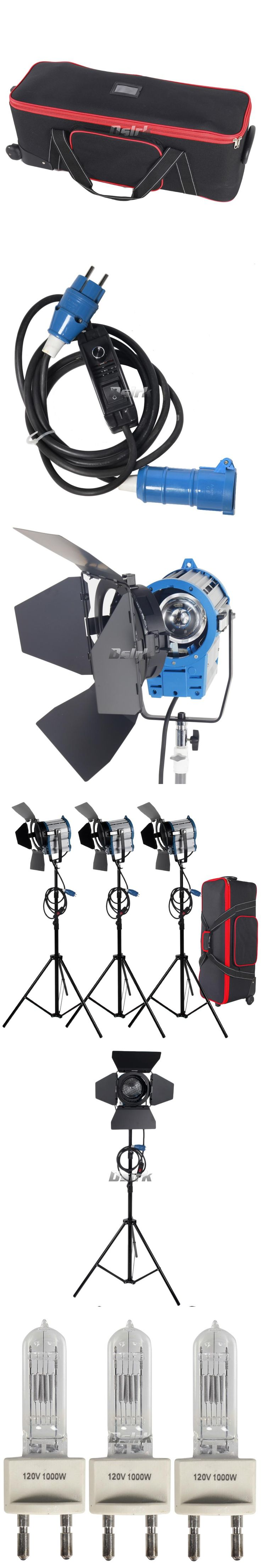 Free shipping 3 X 1000W Studio Fresnel Tungsten with dimmer control Spotlight Video Light Kit Lighting with Carry Case