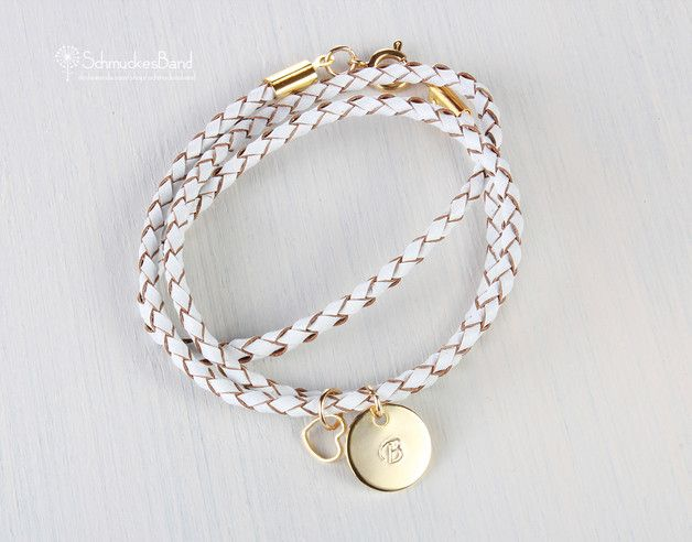 Personalisierbares Armband mit goldenem Herz / pretty gold bracelet  by SchmuckesBand via DaWanda.com