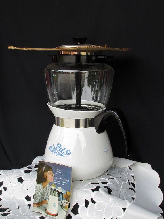 P-118 Vintage Corning Ware Cornflower Blue Drip Coffee Pot by catiques