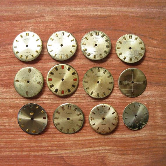 12 pcs Vintage Watch Faces Pocket Watch Faces Round Watch