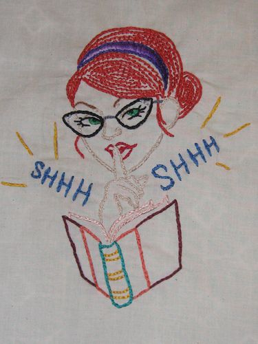 Sexy Ladies Read Books....-- I know how to cross stitch so I could probably do something like this.