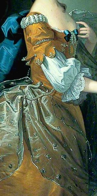 Sleeve with scalloped edge sewn with pearls, shoulder detail with rows of pearls, and small clusters of pearls/spangles (?) sewn to translucent shimmering shawl draped over one shoulder and looped at waist through a string of pearls with one large drop pearl - these details suggest the outfit is for a masquerade. Margaret, Wife of Sir Henry Oxenden  by Thomas Hudson, 1756,  Canterbury City Council Museums and Galleries