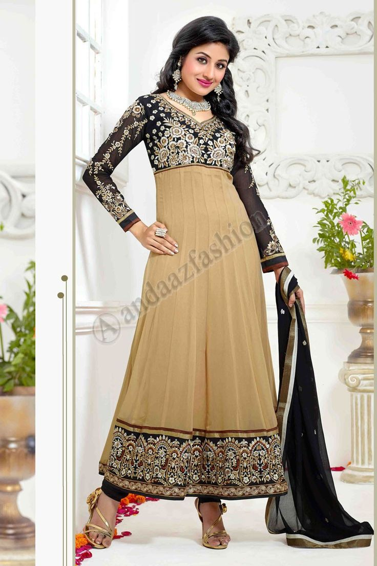 Beige Georgette Anarkali Churidar Suit  Design No. DMV13135 Price:- £55.00 Dress Type:Anarkali Churidar Suit Fabric:Georgette Colour:             Beige Embellishments: Stone, Zari, Zircon, Full Sleeve Kameez For More Details:- http://www.andaazfashion.co.uk/beige-georgette-anarkali-churidar-suit-with-black-chiffon-dupatta-dmv13135.html