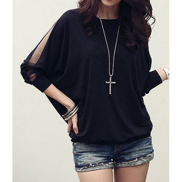 $10.10 Trendy Long Sleeve Loose T-Shirt Batwing Tops Blouses Black