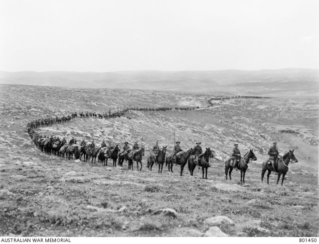 The 1st Australian Light Horse Brigade moving down from Judea to the capture of…