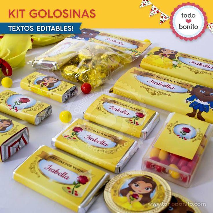 La Bella y la Bestia: kit etiquetas de golosinas - Todo Bonito