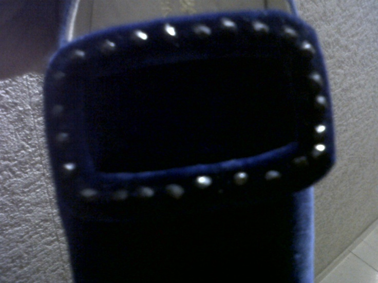 Blue Velvet moccasin with precious brooch in Svarowsky and velvet
