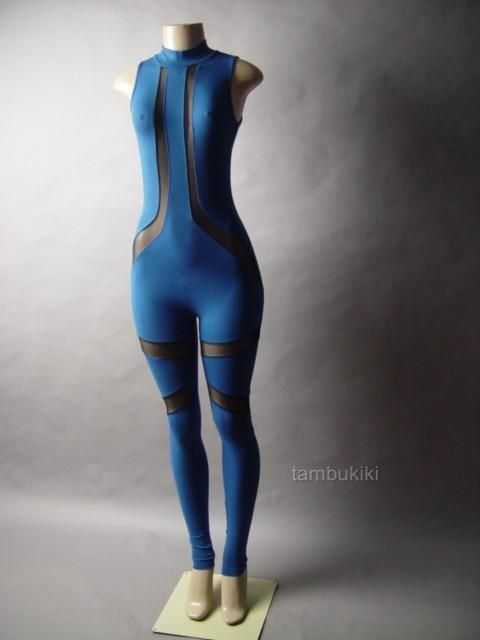 Black Sheer Mesh Blue Turtleneck Pant Women Unitard Bodysuit 20 mv Catsuit S M L