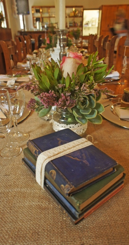 There are so many ways to save costs when table decorations are concerned.  A few old books and ribbon is all it takes to get the vintage look.