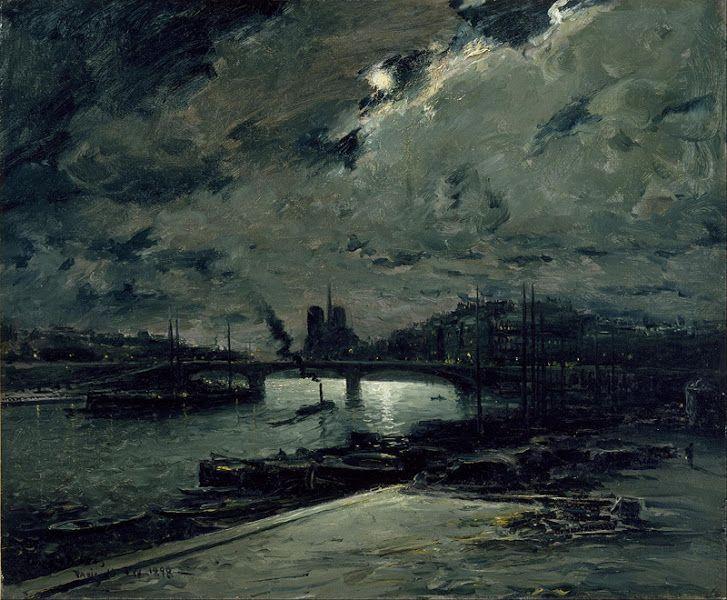 Frank Myers Boggs (1855-1926), Paris, Rives de la Seine au Clair de Lune - 1898 Живопись маслом