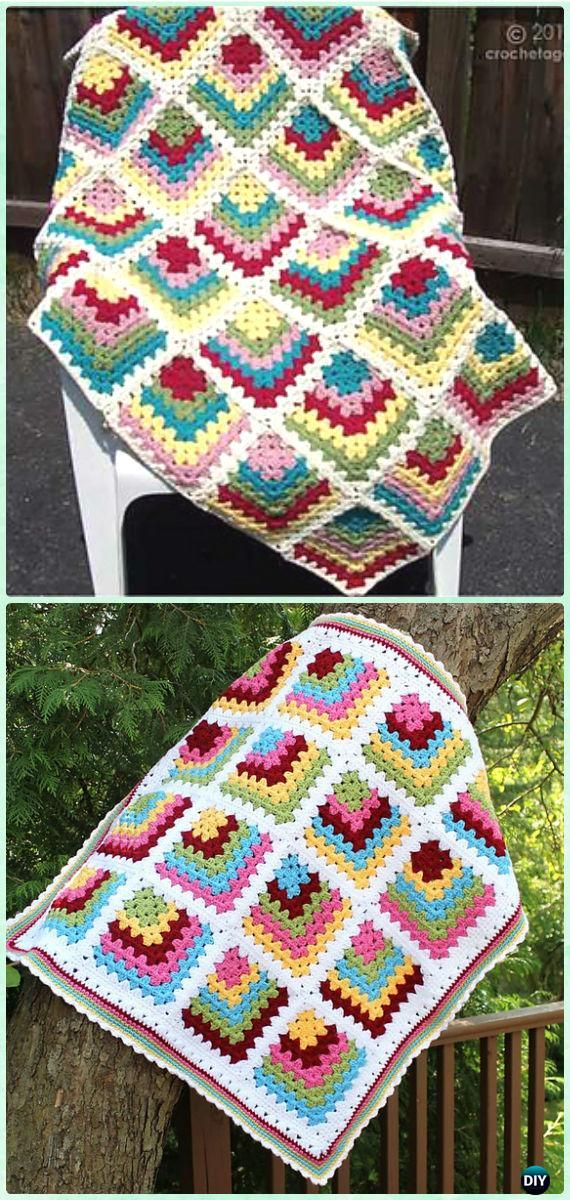Crochet Mitered Granny Square Blanket Free Patterns