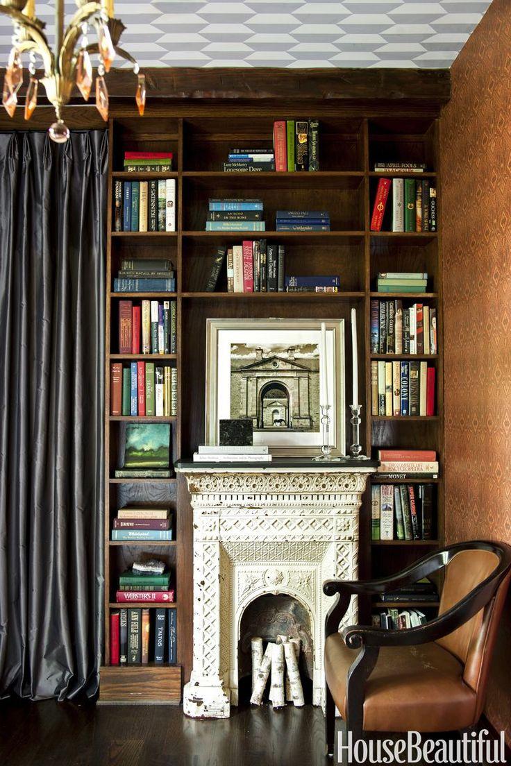 shon parker library fireplace