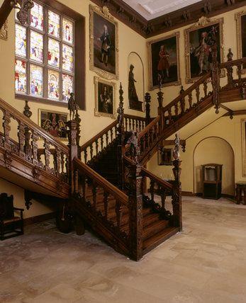 rooms of anne boleyn at blickling hall | The Great Hall in Blickling Hall showing the staircase with Jacobean ...