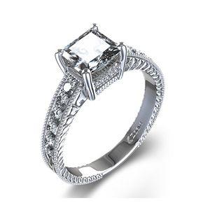 Bague de Fiançailles Vintage Gravée et Diamant Princesse 1/3 ctw en Platine 1227€ diamant 0,23 carat I SI1, griffe. 10 diamants latéraux de 0,08 carats F-G VS2 pavée