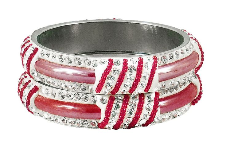 Pair of Light Red Metal Bangles with Stone and Beads (Stone and Metal)