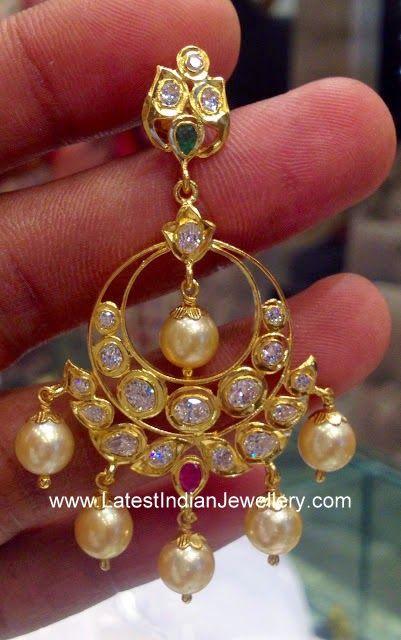 latest Pachi Work Chandbali earrings