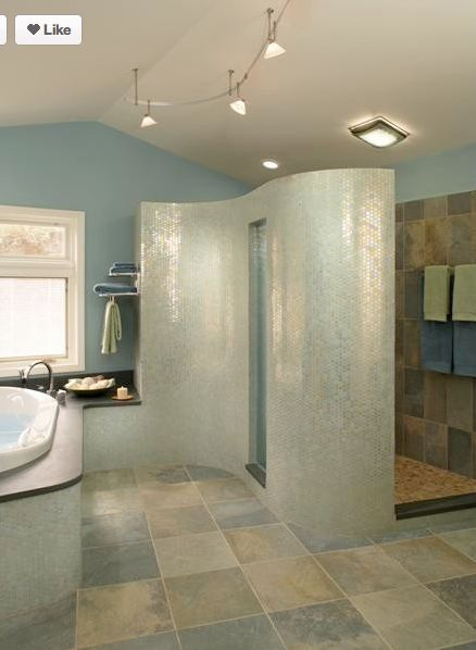 Curved Shower Tile Wall Bathrooms Pinterest Colors
