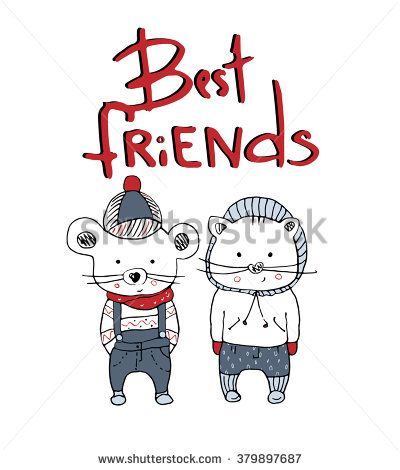 "hand drawn vector illustration of cat& mouse with lettering""best friends""/can be used as kid's or baby's shirt design/fashion print design"