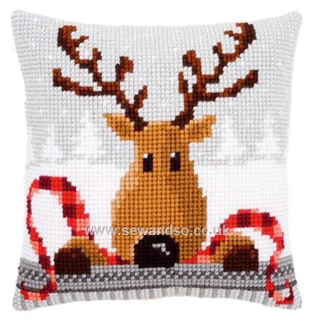 Buy Reindeer With a Red Scarf Cushion Front Chunky Cross Stitch Kit online at sewandso.co.uk